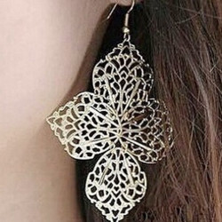 Vintage Silver Gold Hollow Out Four Leaves Dangle Earrings Jewelry