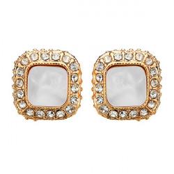 Vintage Square Rhinestone Stud Earrings Gold Silver Plated Earrings