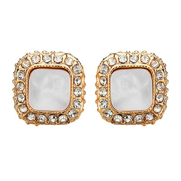 Vintage Square Rhinestone Stud Earrings Gold Silver Plated Earrings Women Jewelry