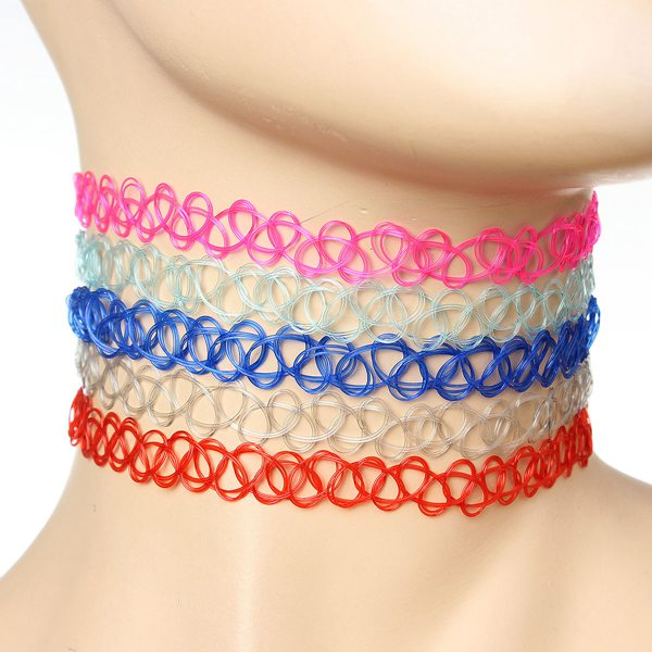 Vintage Stretch Tattoo Choker Collar Elastic Necklace For Women Women Jewelry