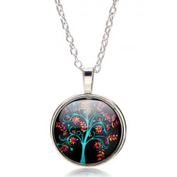 Vintage The Tree of Life Glass Cabochon Silver Chain Pendant Necklace