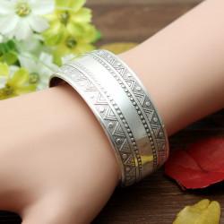 Vintage Tibetan Silver Carve Pattern Bangle Opening Cuff Bracelet