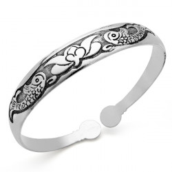 Vintage Tibetan Silver Fish Cuff Bracelet Bangle For Women
