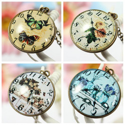 Vintage Time Gem Pocket Watch Pattern Ellipse Alloy Pendant Necklace