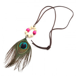 Vintage Wood Beads Peacock Feather Rope Chain Pendant Necklace