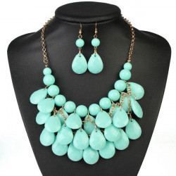 Water Drop Acrylic Bib Bubble Necklace Earrings Multilayer Jewelry Set