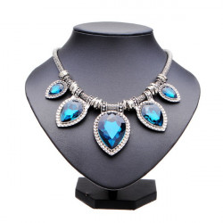 Water Drop Big Gem Stone Heart Shape Short Pendant Statement Necklace