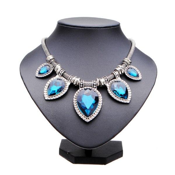 Water Drop Big Gem Stone Heart Shape Short Pendant Statement Necklace Women Jewelry