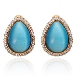 Waterdrop Opal Stud Earrings Rhinestone Women Ear Stud