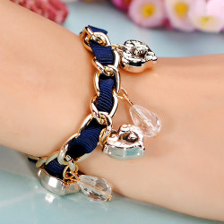 Weave Ribbon Fish Heart Pendant Beaded Bracelet For Women