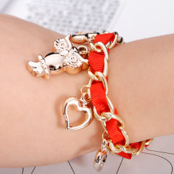 Weave Ribbon Owl Heart Pendant Bracelet Gold Plated Women Jewelry