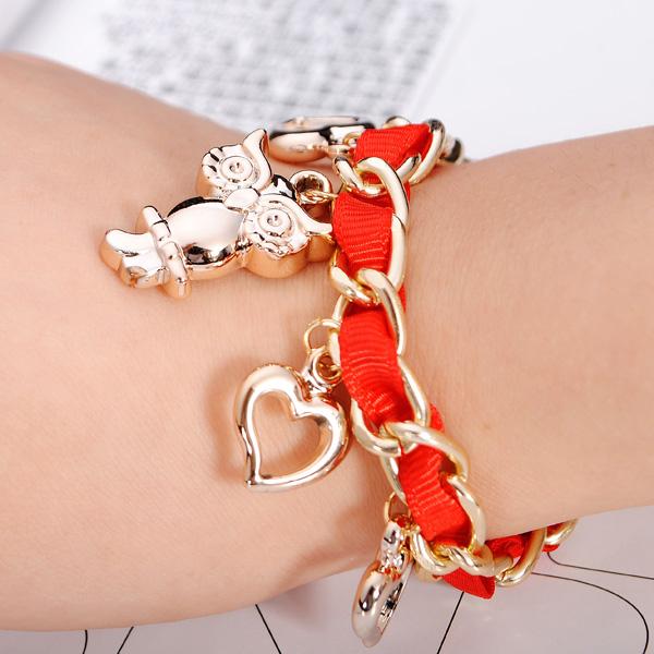 Weave Ribbon Owl Heart Pendant Bracelet Gold Plated Women Jewelry Women Jewelry