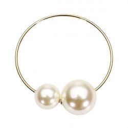 White Big Pearl Opening Cuff Bangel Bracelet Gold Plated