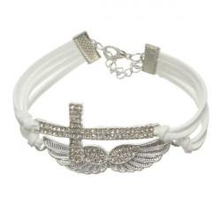 White Braided Leather Rope Crystal Cross Angel Wings Bracelet Unisex