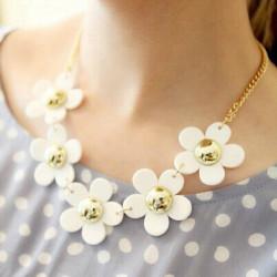 White Daisy Flower Beads Alloy Chain Choker Necklace Women Jewelry