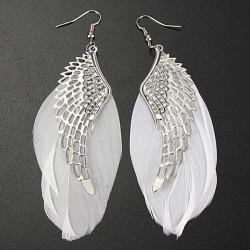 White Feather Angel Wing Dangle Earrings Ear Drop For Women