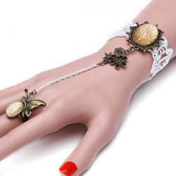 White Lace Crystal Flower Butterfly Ring Bracelet Gothic