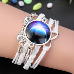 White Owl Infinity Time Gem Galaxy Glass Multilayer Leather Bracelet