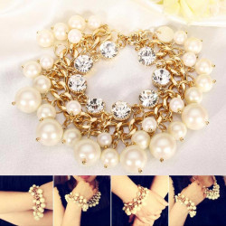 White Pearl Crystal Bracelet Metal Chain Chunky Multilayer Bracelet