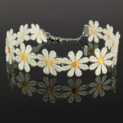 White Yellow Daisy Flower Chain Tattoo Choker Necklace For Women