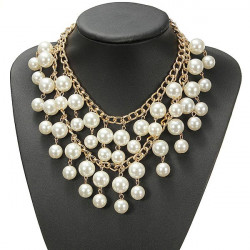 Women Occident Style Multilayer Alloy Pearl Chain Necklace