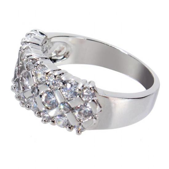 Women Silver Plated Crystal Zircon Rhinestone Ring Wedding Jewelry 2021