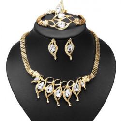 Yellow Crystal Heart Necklace Bracelet Earrings Ring Jewelry Set