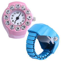 Fashion Women Black Flower Crystal Rhinestone Finger Ring Watch