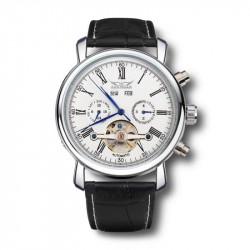 JARAGAR Luxury Skeleton Automatisk Mekanisk Läder Herr Armbandsur Klocka