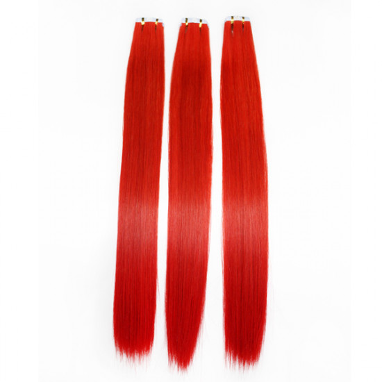 20-26Inch PU Tape 100% Red Straight Human Hair Extension 2021