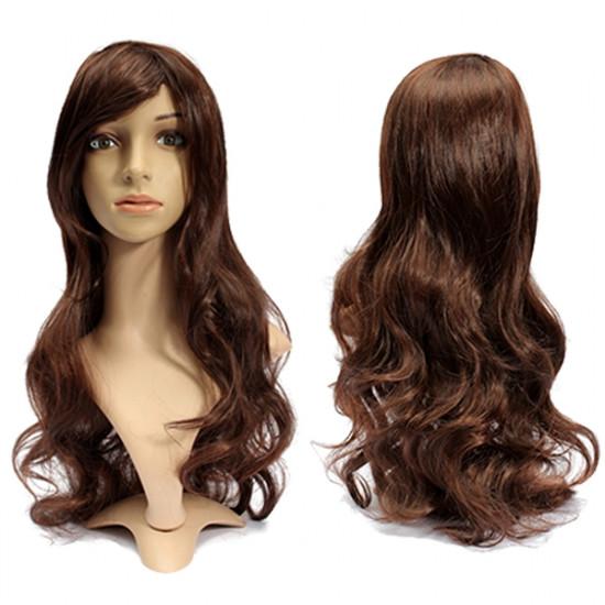 3 Colors 65cm Women Long Wavy Curly Hair Piece Hairnet Cap Bang Wigs 2021