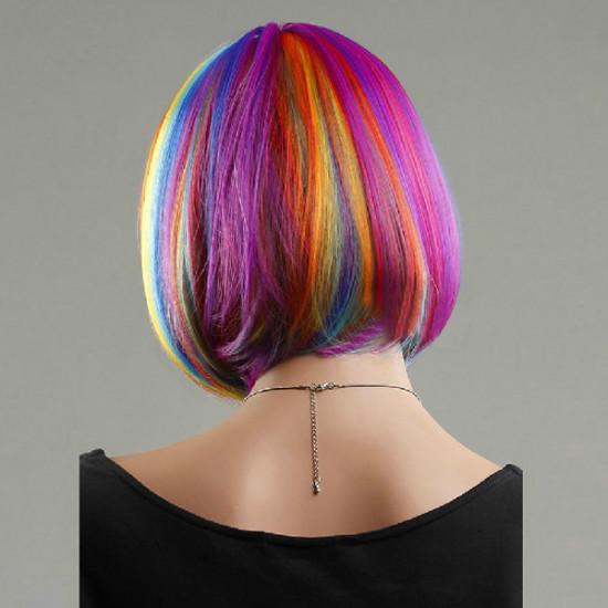 Colorful Rainbow Bob Style Short Straight Hair Wigs 2021