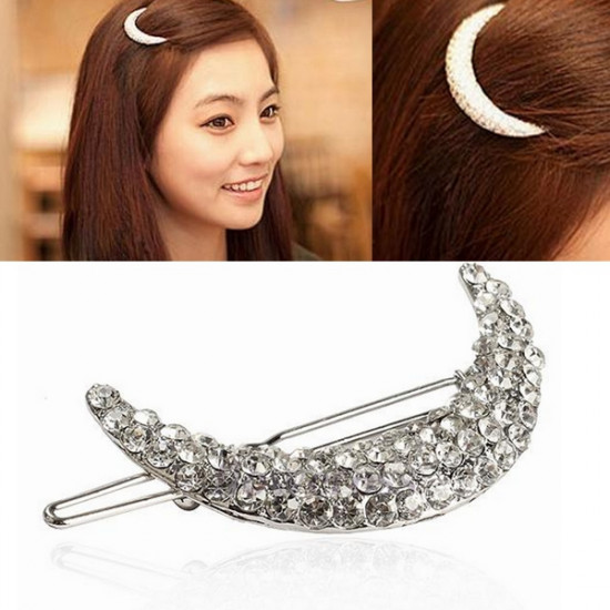 Crystal Moon Shape Rhinestone Hair Clip Bang Hairpin Claw 2021
