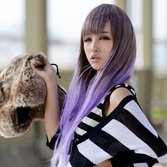 Light Purple Gradient Fashion Long Straight Wig 2021