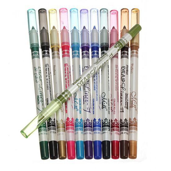 12 Color Plastic Glitter Lip Eyebrow Eyeliner Pencil Pen Cosmetic Set 2021