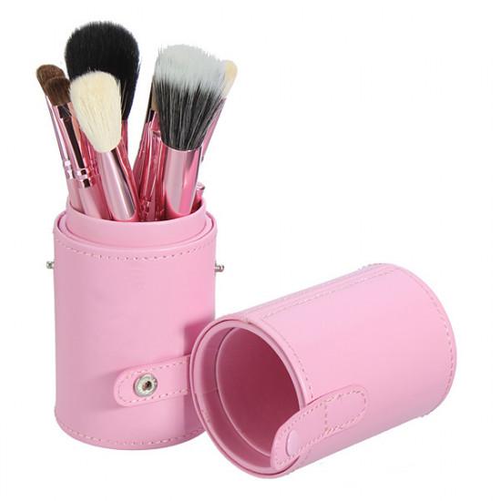 12Pcs Professional Makeup Cosmetic Brush Set Cylinder Leather Case 2021