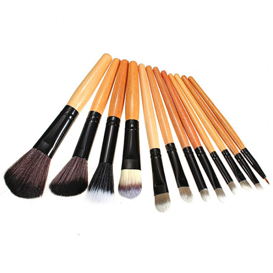 12pcs Leopard Cosmetic Makeup Powder Brush Set With Leather Case 2021