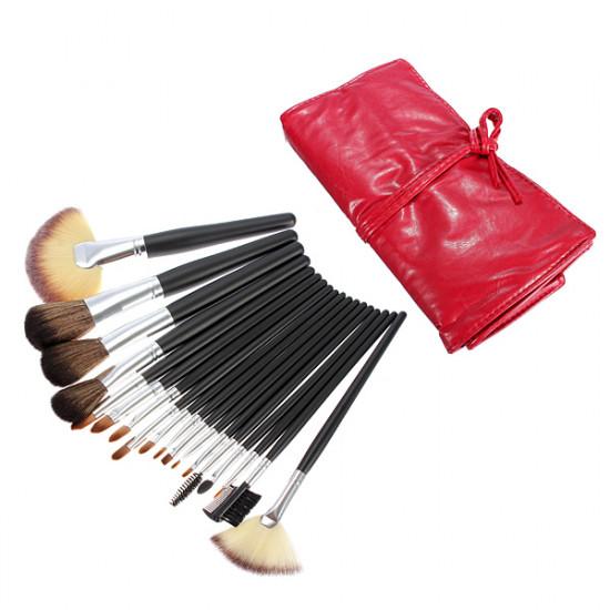 18pcs Pro Portable Makeup Cosmetic Brush Set Kit w leather Case 2021