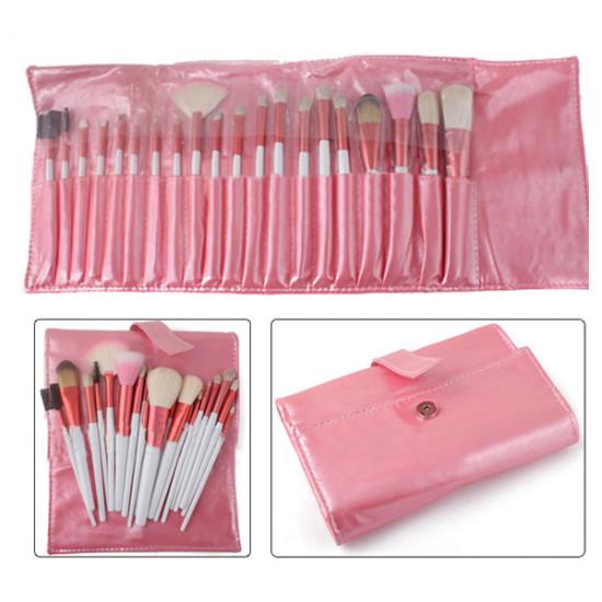 20pcs Makeup Cosmetic Brushes Set Kit Pink Leather Case 2021