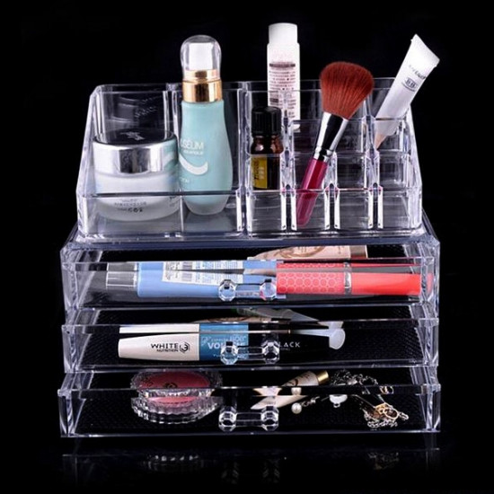2 Shapes Acrylic Clear Cosmetic Organizer Makeup Container Storage 2021