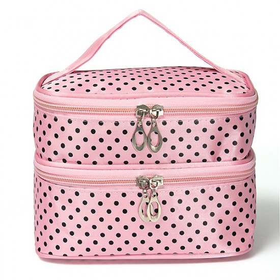 Portable Polyester Double Layer Makeup Cosmetic Toiletries Bag 2021
