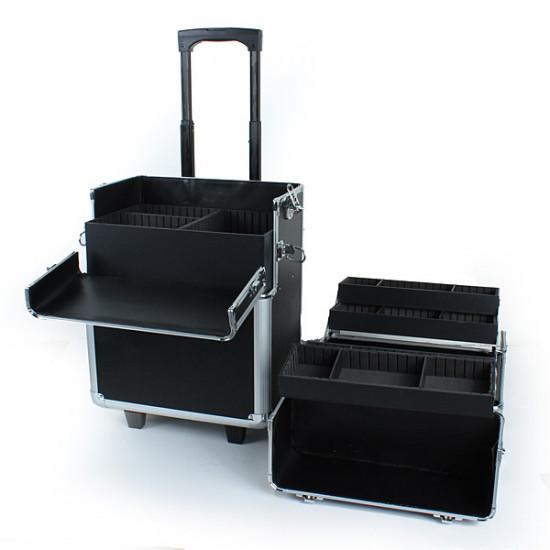 2 in 1 Pro Aluminum Lockable Wheeled Makeup Cosmetic Box Vanity Case 2021