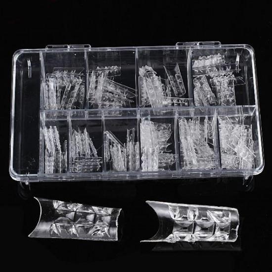 100Pcs Acrylic Transparent Crystal Mold Half Stick False Nail Tips 2021