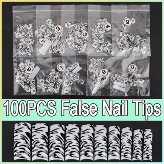100pcs Black Leopard Dots False Acrylic 3D Nail Art Tips 2021