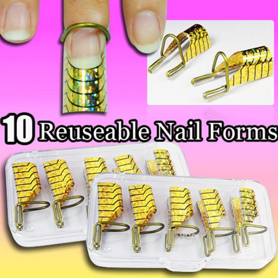 10pcs Golden UV Gel Acrylic Nail Art Tips Extension Tool 2021
