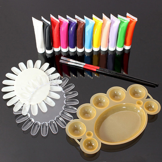 12 Colors 3D Nail Art Acrylic Paints Brush Pallet Tool Set 2021