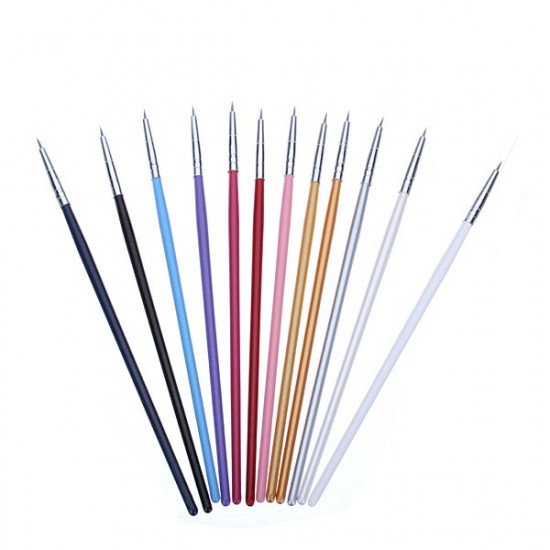 12Pcs Colorful Nail Art Design Painting Pen Brush Set 2021