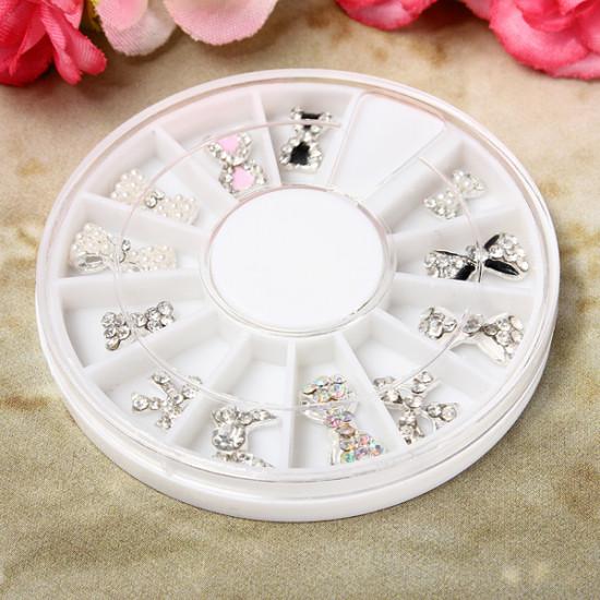 12 Styles Silver Bowknot Rhinestone Metal Nail Art Decoration Wheel 2021