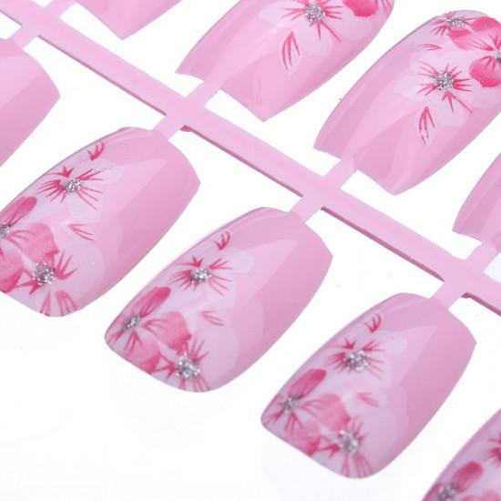 12pcs 3D Pink Flower French Acrylic Full False Nail Art Tips 2021