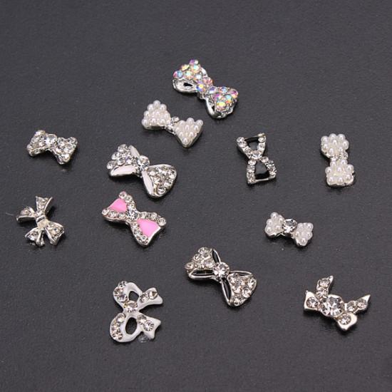 12pcs Glitter Crystal Bowknot Nail Art Decoration Round Wheel 2021